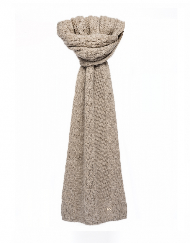 Beige cable stitch knit scarf