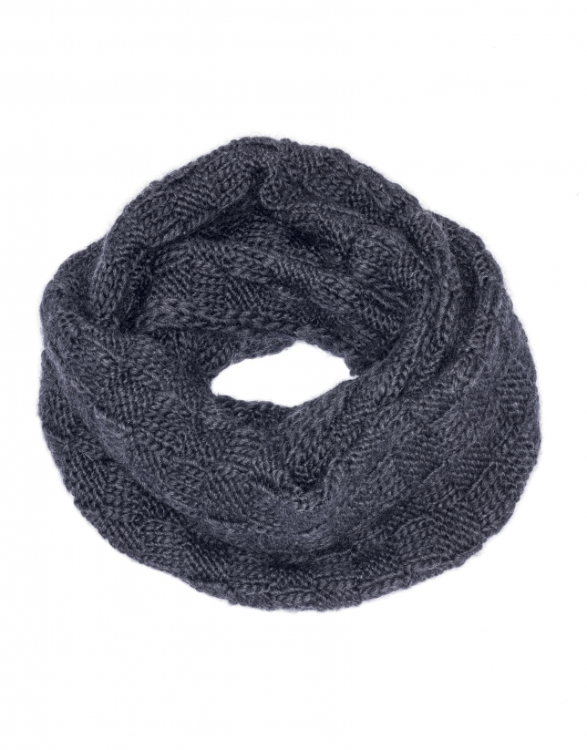 Gray jacquard knit tube scarf