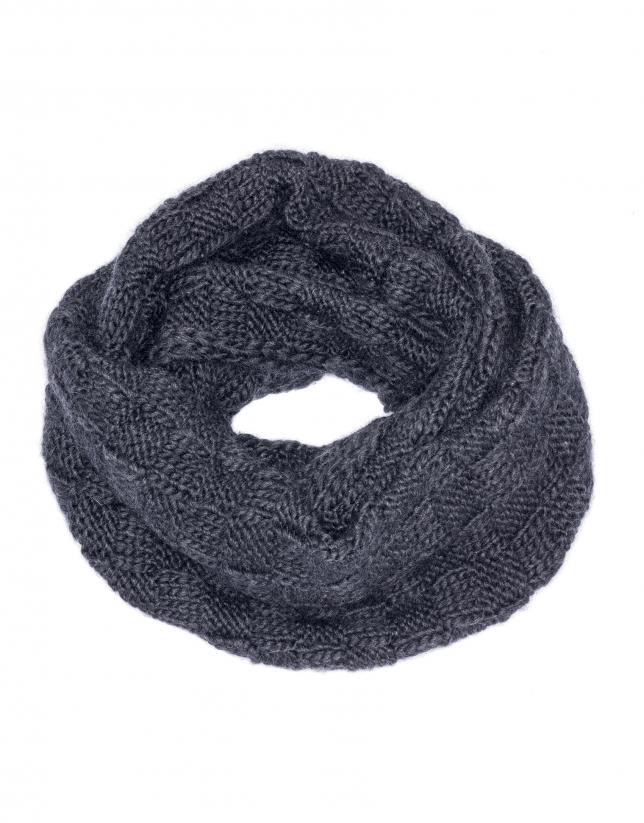 Gray jacquard knit tube scarf