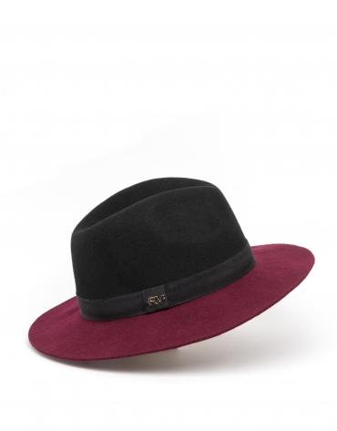 Chapeau bicolore bordeaux/noir
