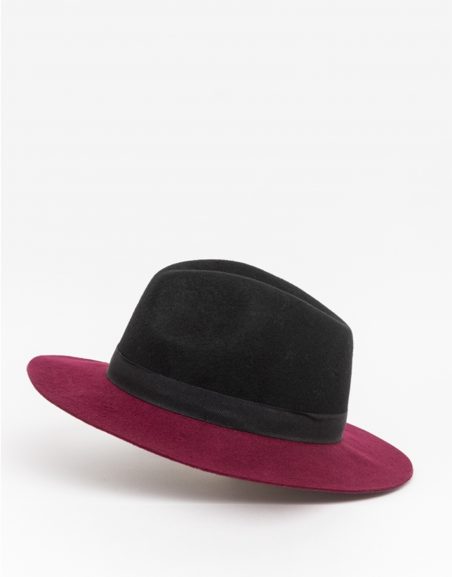 Sombrero bicolor burdeos/negro