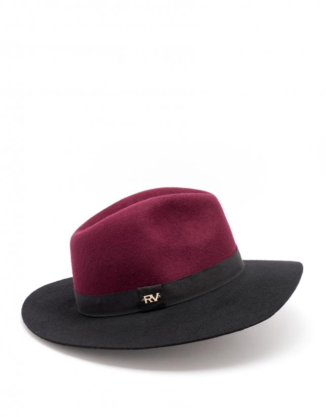 Sombrero bicolor negro/burdeos