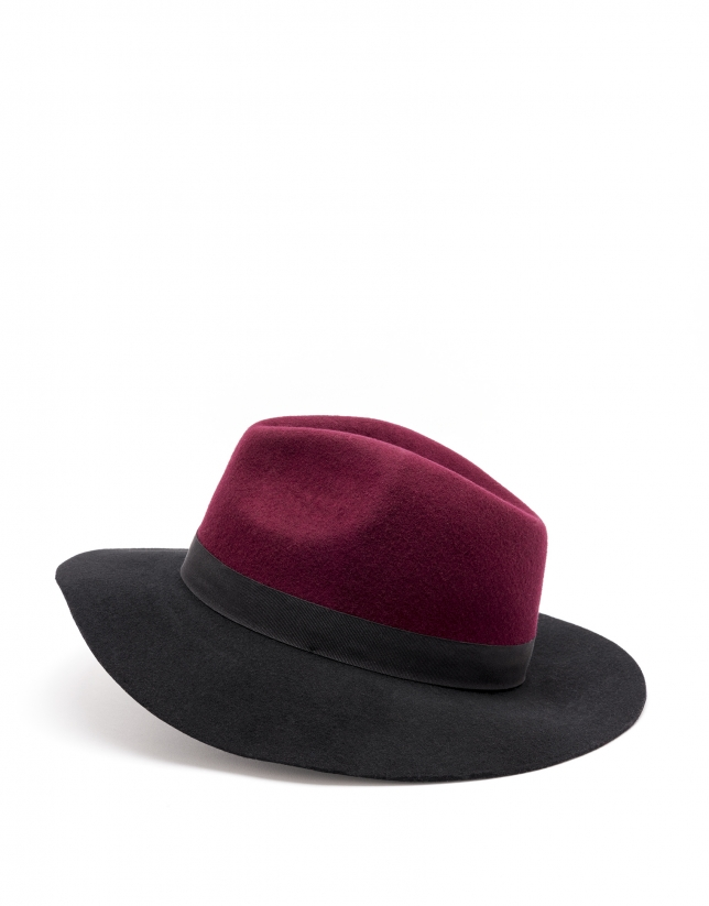 Chapeau bicolore noir/bordeaux