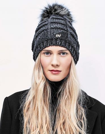 Gray knit cap with pompom
