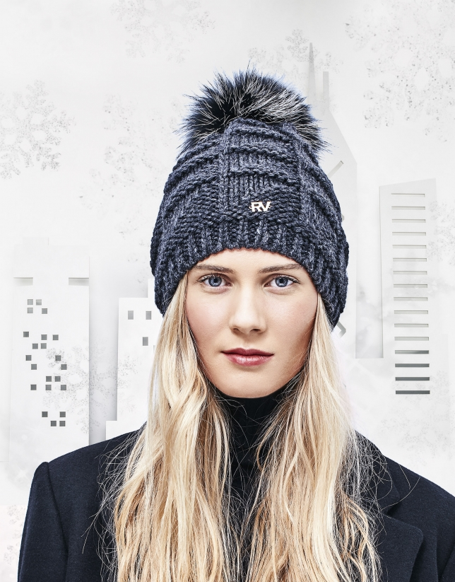 Gray knit cap with pompom