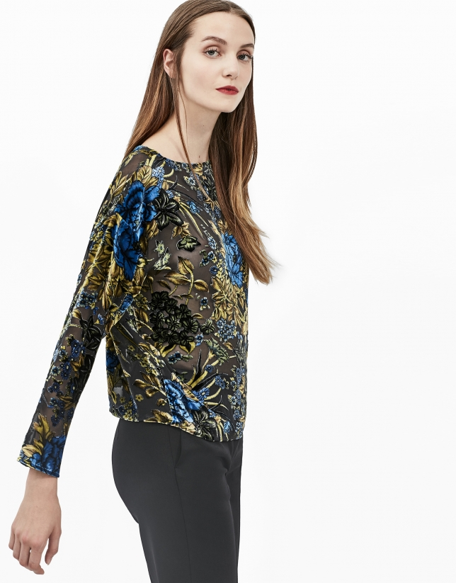 Green floral print devoré top