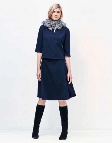 Blue top with round neckline