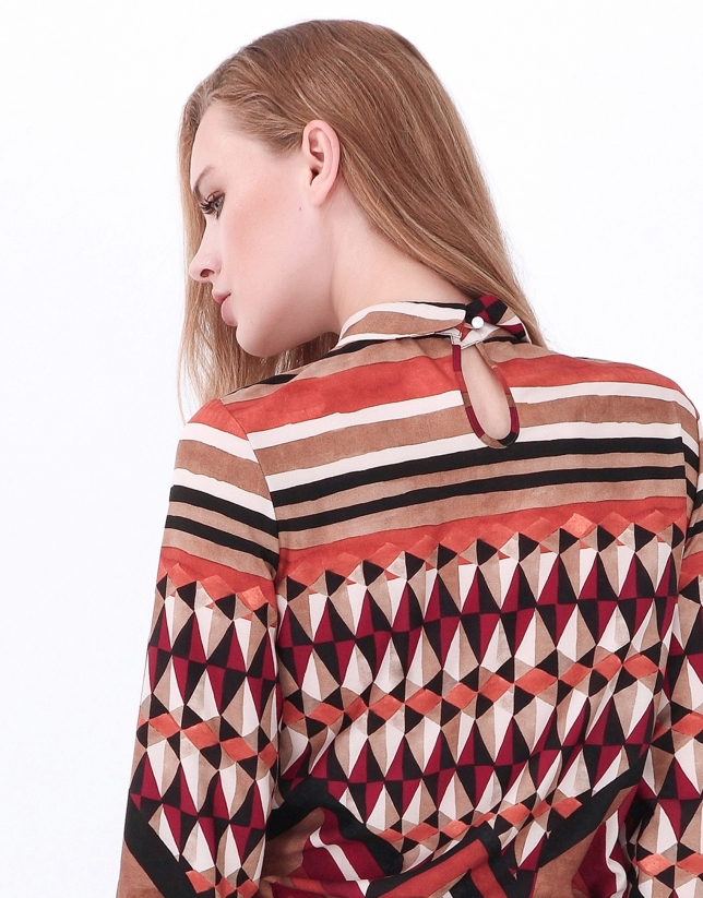 Brown geometric print blouse