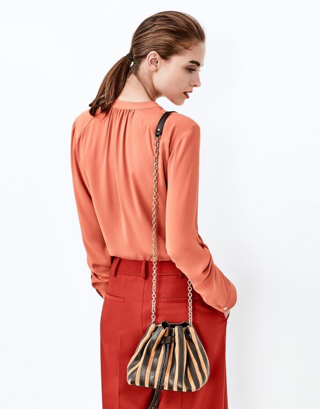 Brick red blouse with round neckline