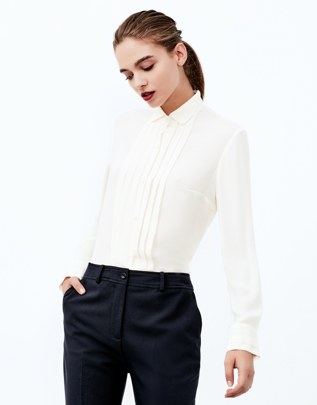 Off white blouse with tucks