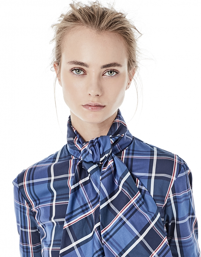 Blue checked shirt with bow