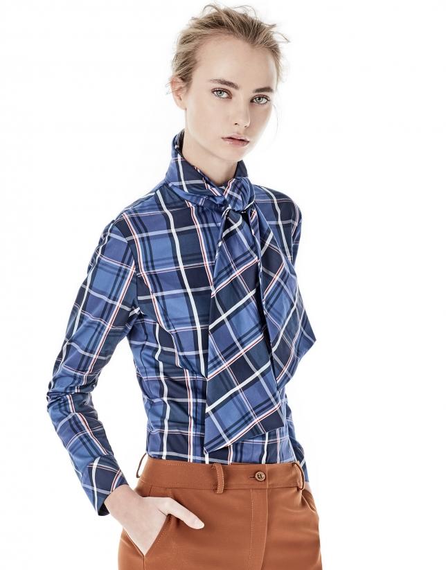 Camisa cuadros lazada azul