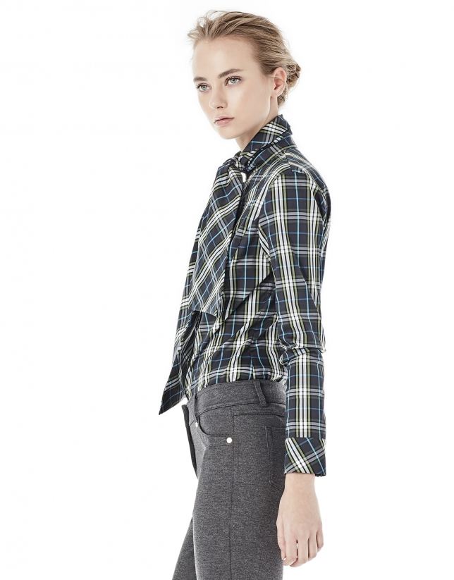 Green checked shirt with bow