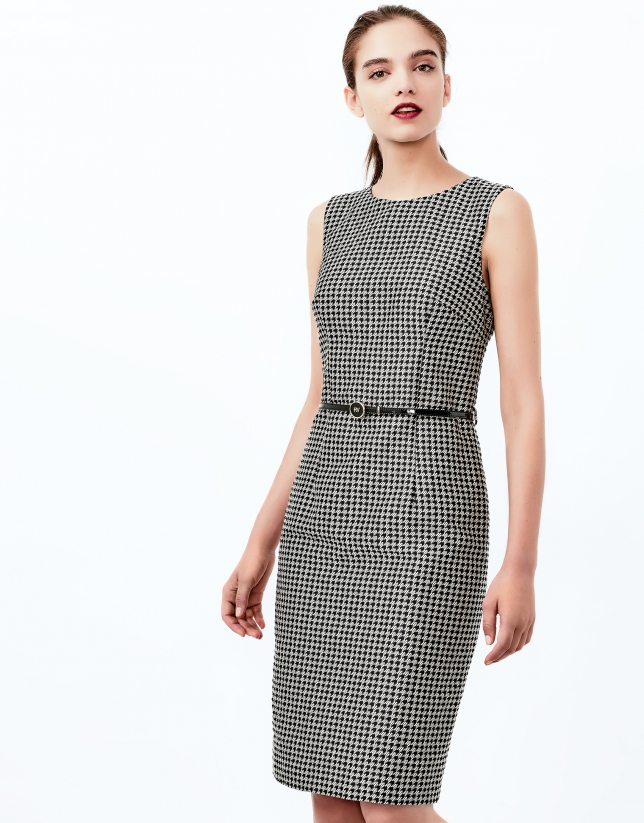 Hounds tooth jacquard dress