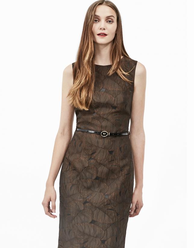 Brown jacquard dress