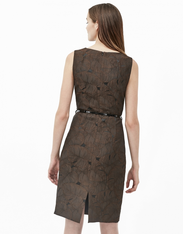 Robe jacquard marron