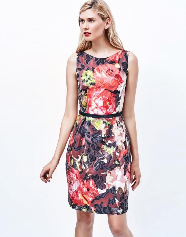 Burgundy floral print jacquard dress