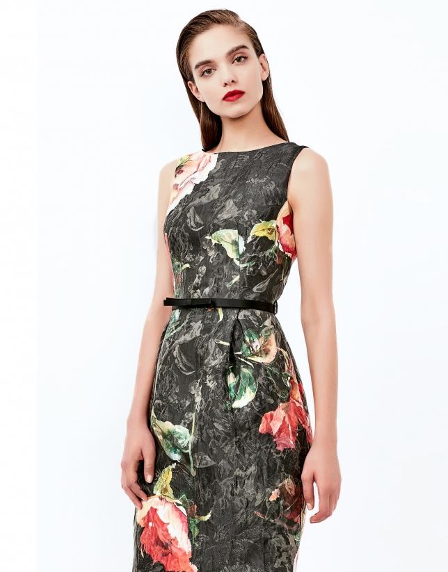 Burgundy print jacquard dress