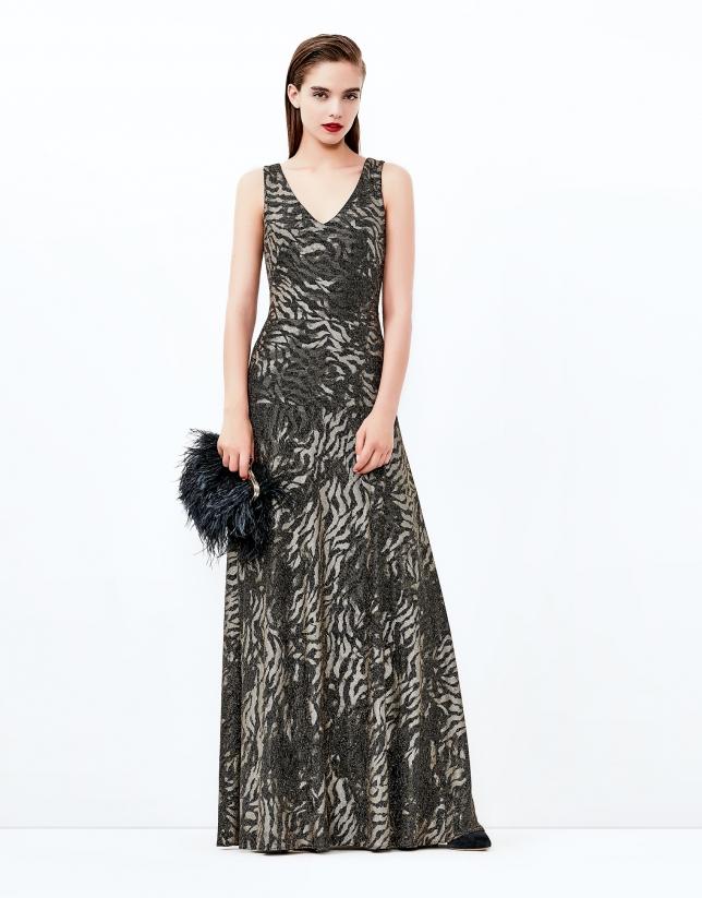 Brown/gold long print dress