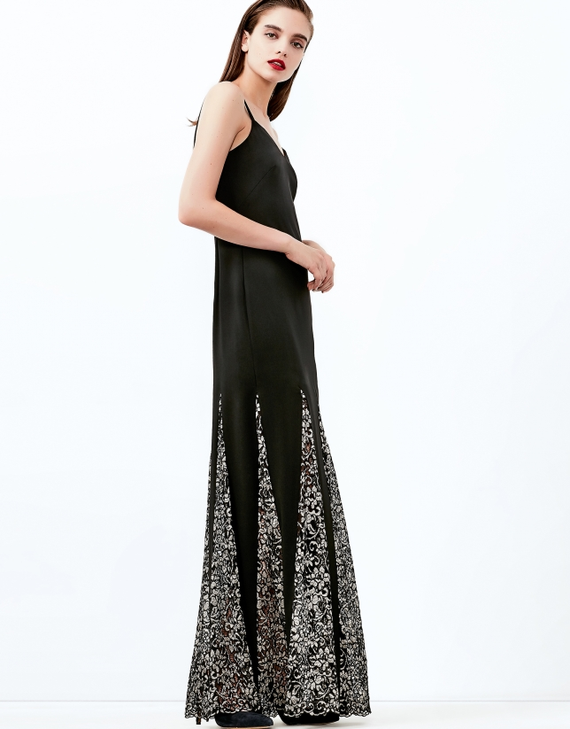 Black, long godet dress