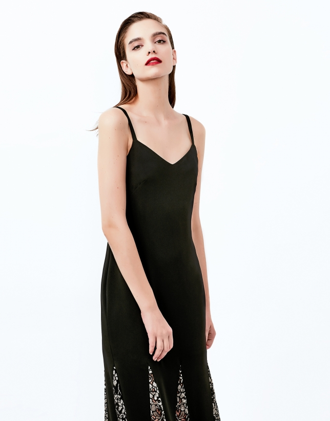 Black, long godet dress