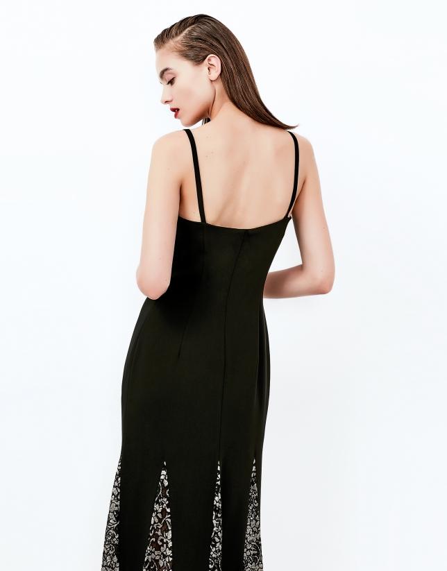 Vestido largo godets negro