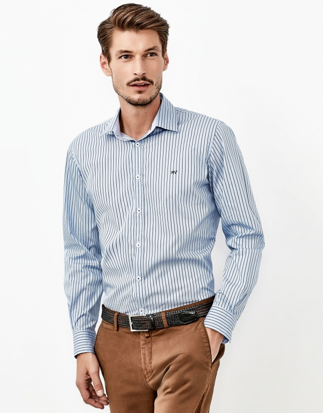 Camisa vestir rayas azul