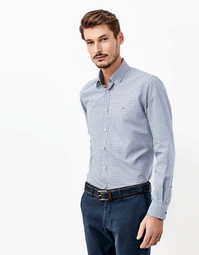 Blue Vichy checked shirt