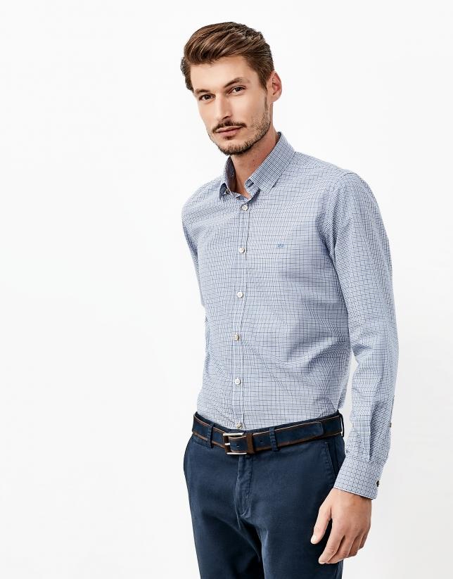 Chemise à carreaux vichy bleue
