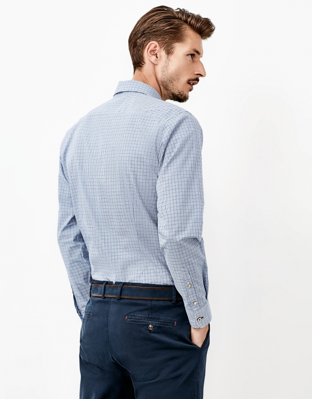 Blue Vichy checked shirt