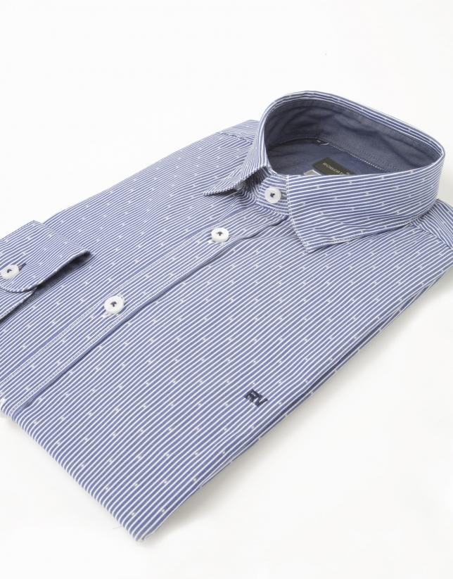 Camisa micro dibujo azul