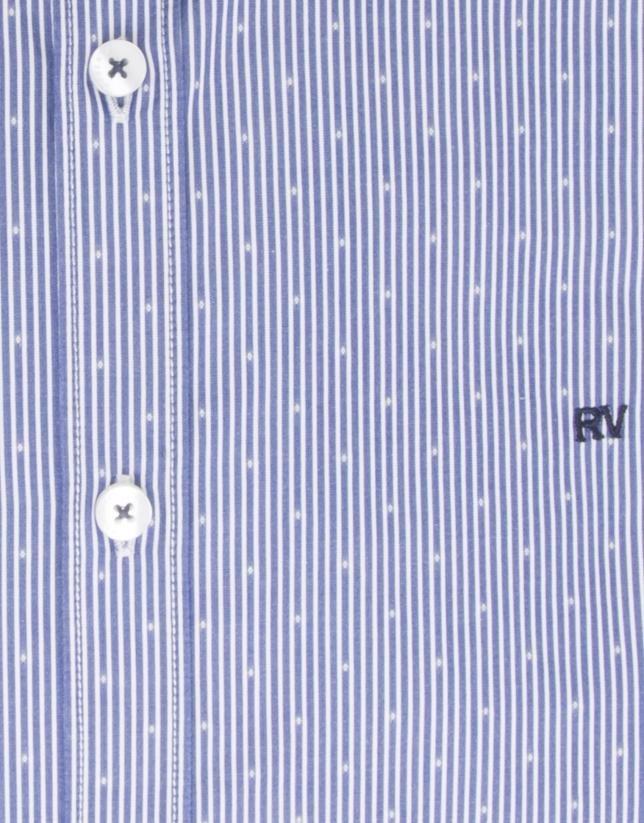 Chemise bleue à micromotif
