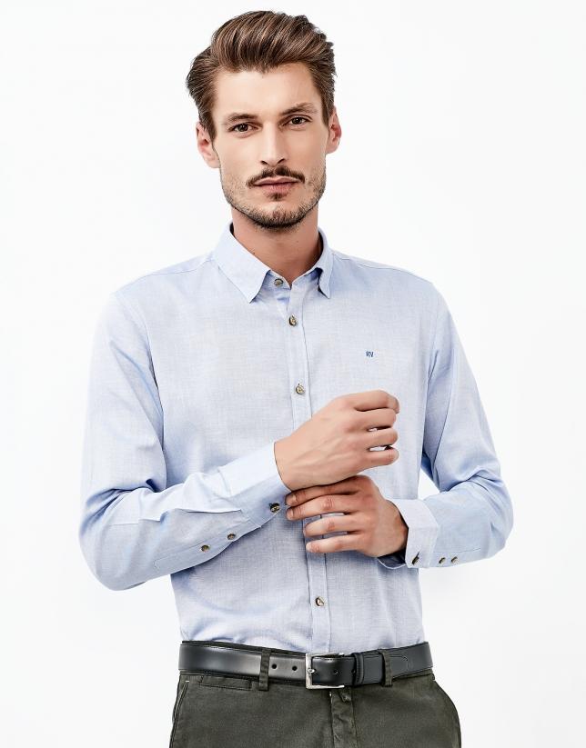 Camisa falso liso azul