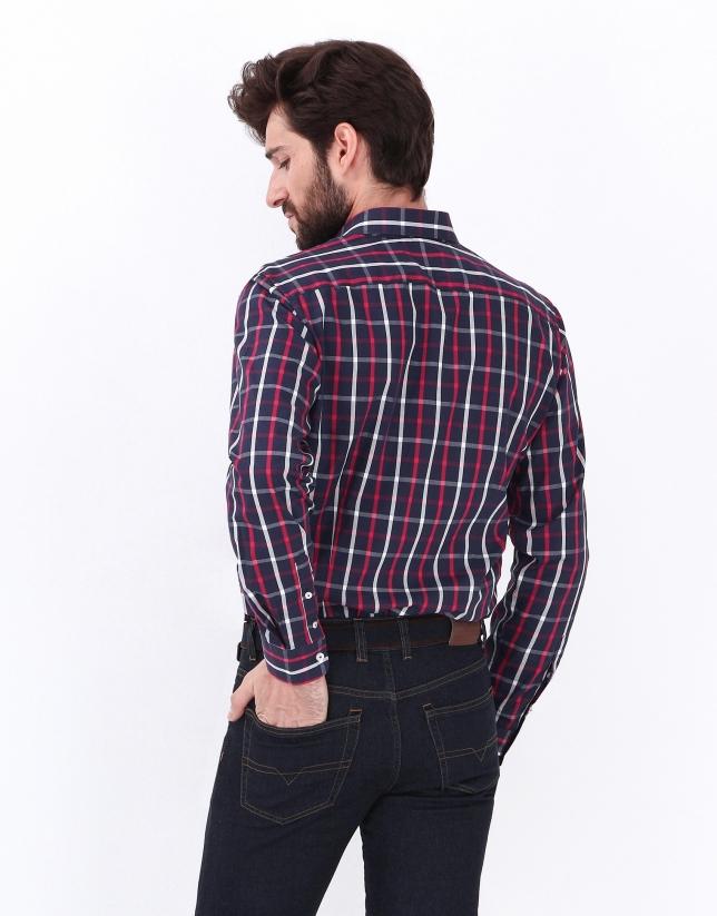 Chemise à carreaux bleu en coton