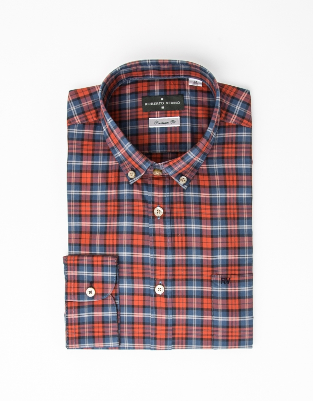 Black and beige checked shirt