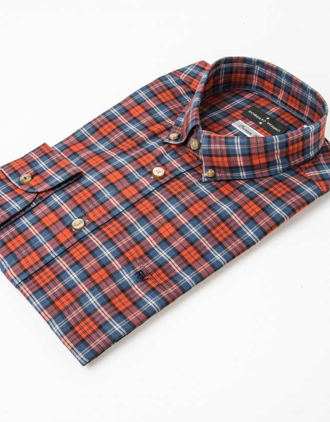 Chemise à carreaux rouge/bleu