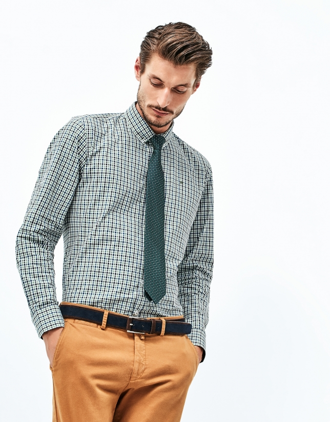 Blue and green checked cotton shirt