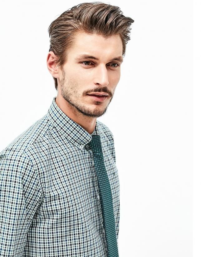 Camisa algodón cuadros azul y verde