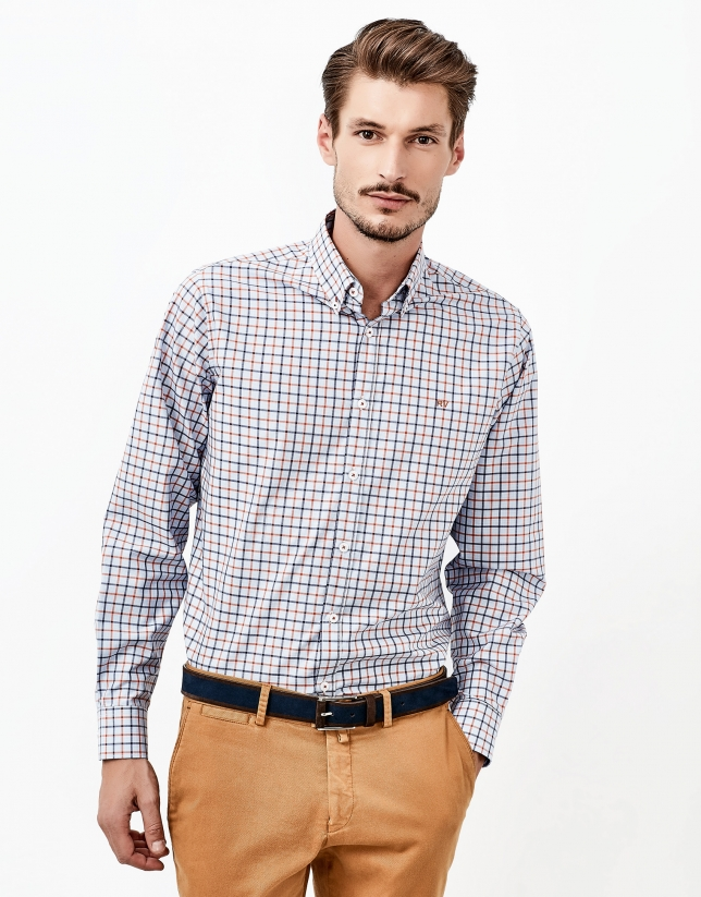 Blue and orange checked shirt