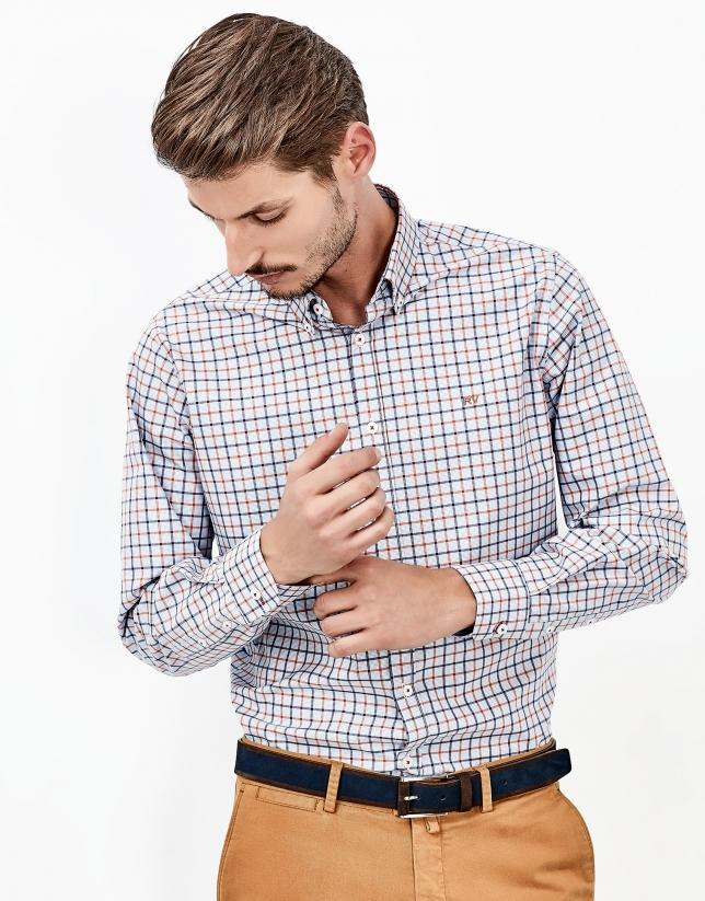 Chemise à carreaux bleus et orange