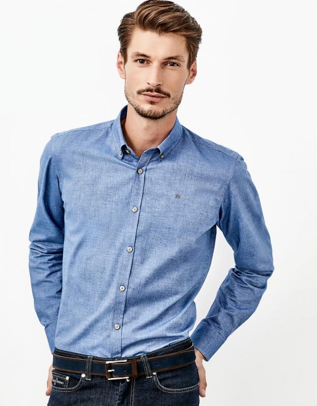 Chemise bleue en flanelle