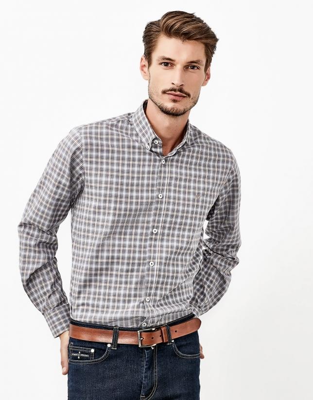 Chemise à carreaux gris et marron