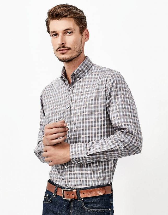 Gray and brown checked shirt