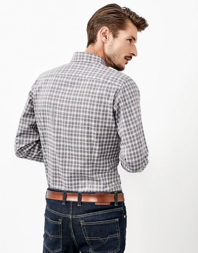 Camisa cuadros gris y marrón