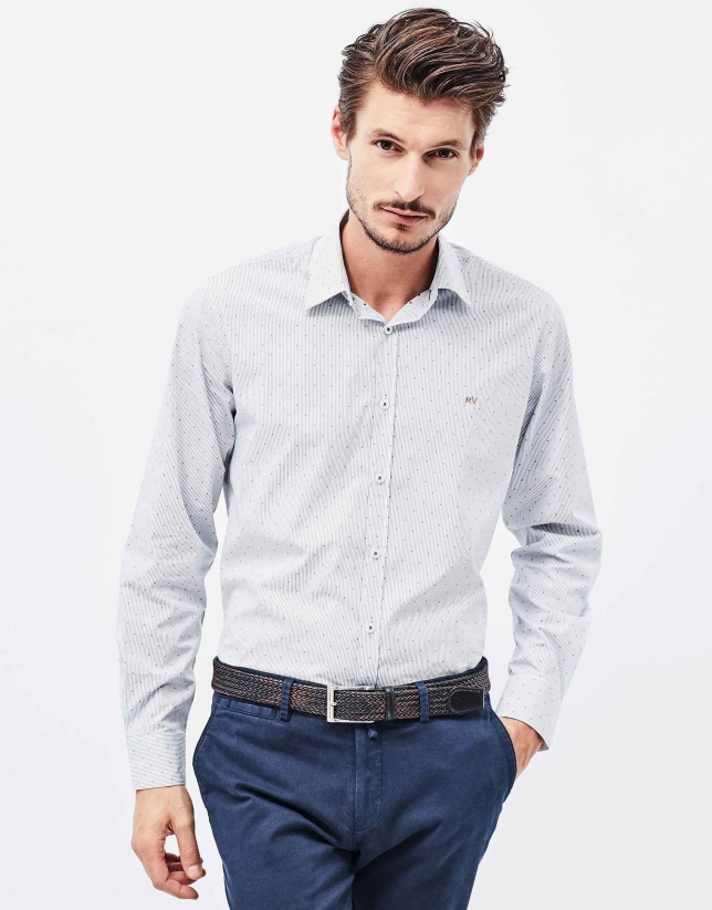 Blue and brown pinstriped shirt