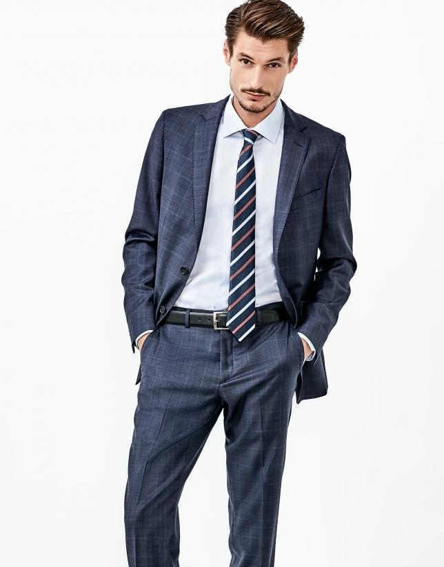 Costume à carreaux semi-entoilé bleu