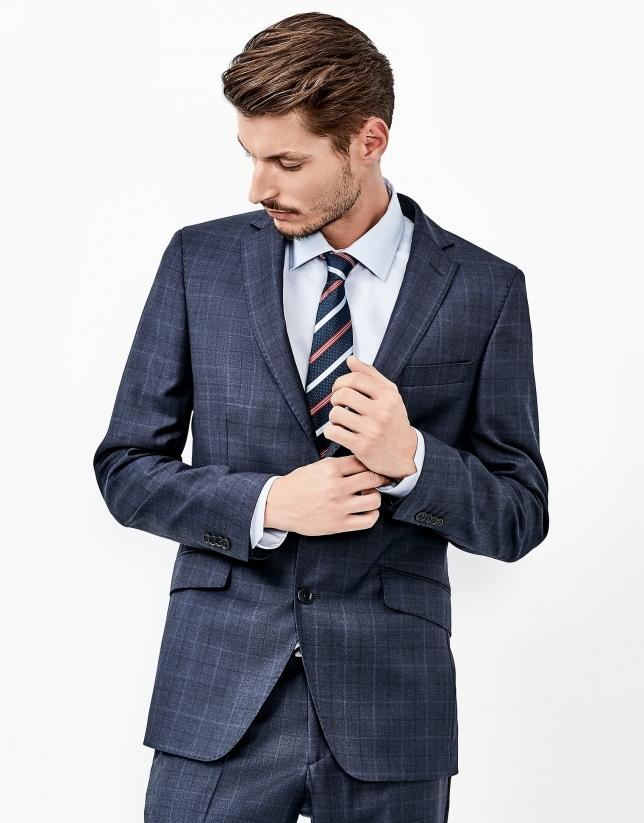 Blue checked part canvas suit