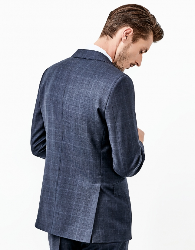 Blue checked part canvas suit