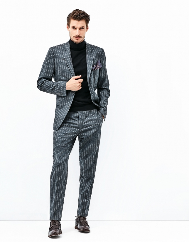 Gray pinstriped suit