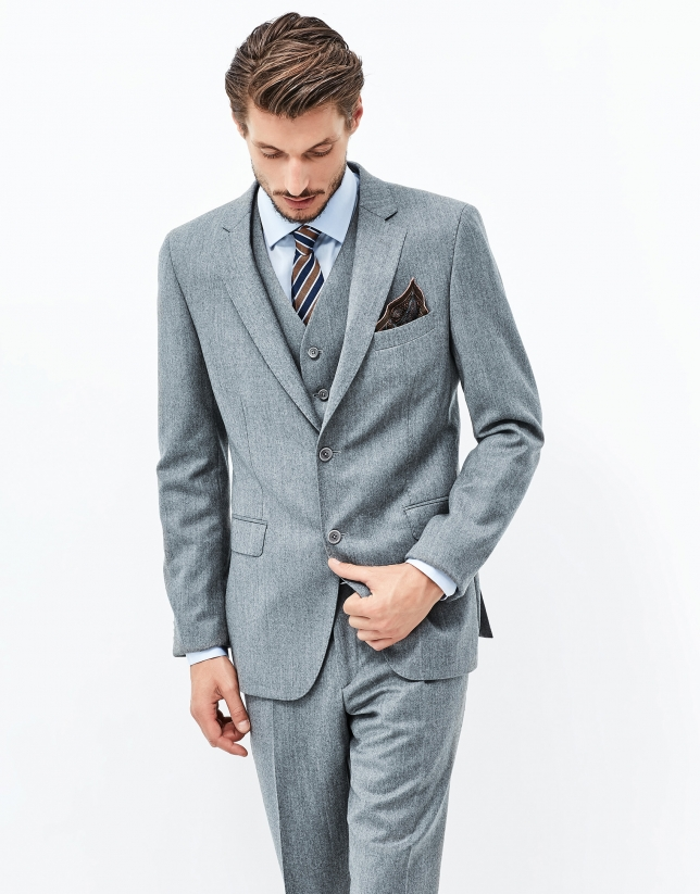 Gray three piece suit